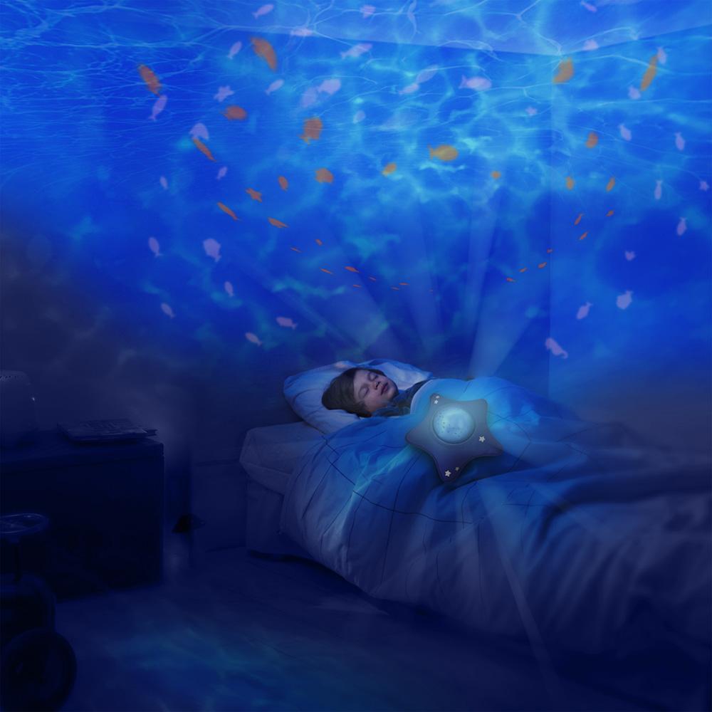 Veilleuse b b projecteur dynamique aqua peluche toile bleu de pabobo en vente chez cdm - Veilleuse projecteur etoile ...