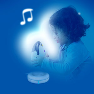 Pabobo Veilleuse bébé lumilove pingouin musical gris/beige
