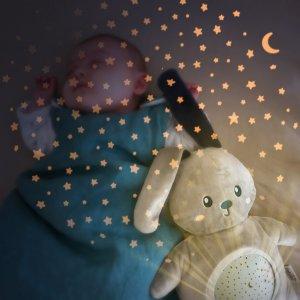 Pabobo Veilleuse bébé projecteur d'étoiles musical peluche lapin