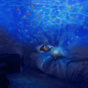 Pabobo Veilleuse bébé projecteur dynamique aqua peluche étoile bleu