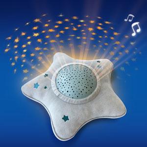 Pabobo Veilleuse bébé projecteur dynamique étoiles peluche étoile gris