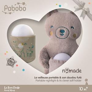 Pabobo Coffret cadeau veilleuse nomade et peluche ours
