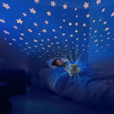 Veilleuse bébé projecteur dynamique étoiles peluche étoile gris Pabobo