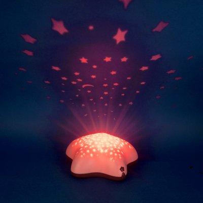 Veilleuse bébé projecteur étoiles piles lolabella rose Pabobo