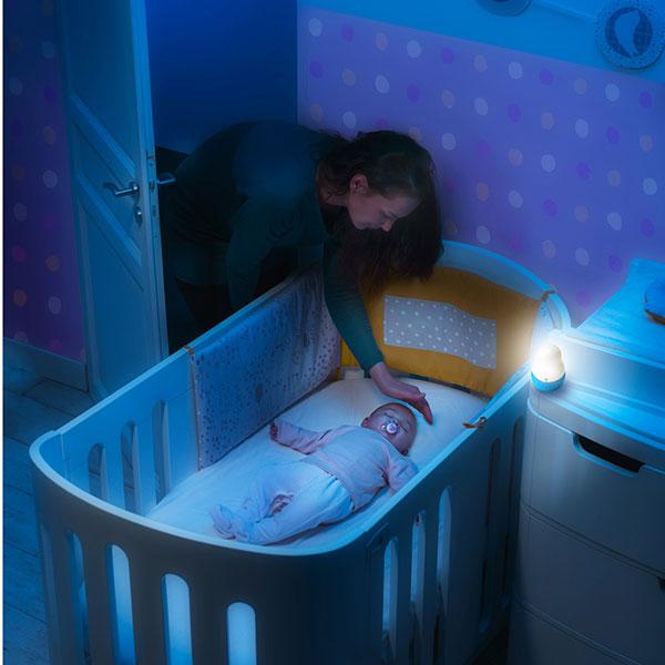 Veilleuse bébé super nomade lion bleue Pabobo