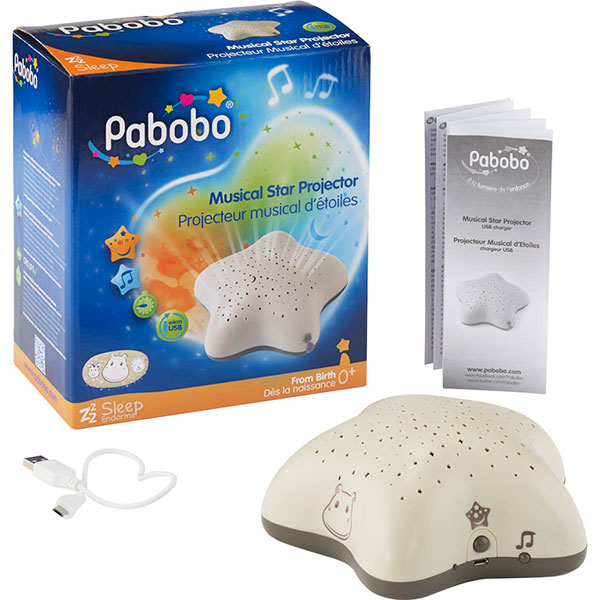 Veilleuse bébé projecteur d'étoiles musical hippo taupe Pabobo