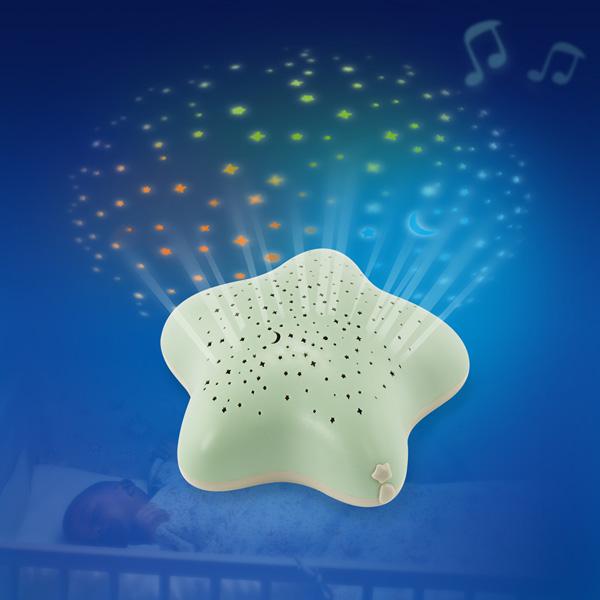 Veilleuse bébé projecteur d'étoiles à piles vert nature Pabobo