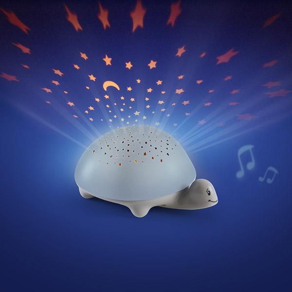Veilleuse projecteur d'étoiles à piles tortue grise Pabobo