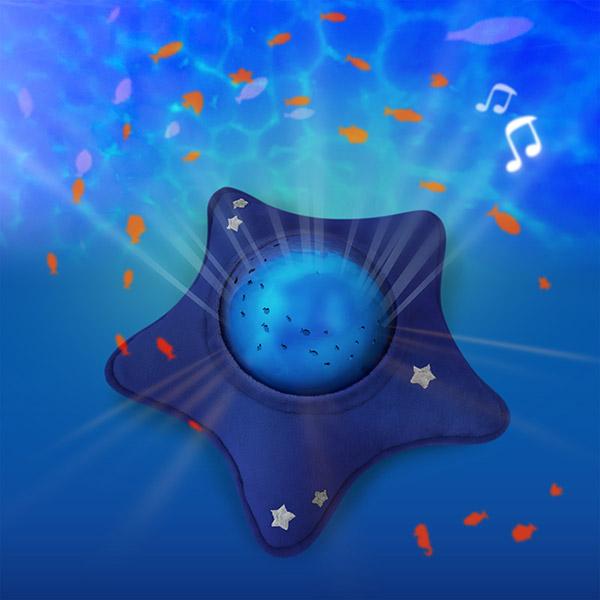 Veilleuse bébé projecteur dynamique aqua peluche étoile bleu Pabobo