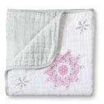 Couverture bébé oiseaux fille rosaces roses/blanc pas cher