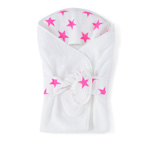 Cape de bain étoiles roses fluos