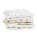 Lot de 3 petits langes metallic gold