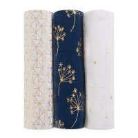 Lot de 3 maxi-langes metallic gold deco