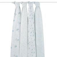 Lot de 4 maxi-langes bébé hibou bleu