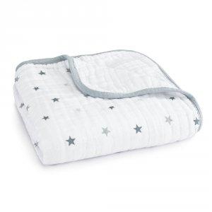 Couverture lit bébé étoiles grises