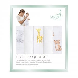 Aden by aden+anais Lot de 5 petits langes safari babies
