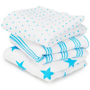 aden + anais Lot de 3 petits langes bébé bleu fluo