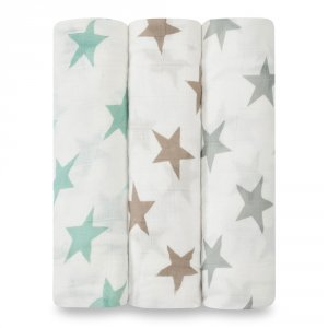 aden + anais Lot de 3 maxi lange bébé milky way étoiles pastel