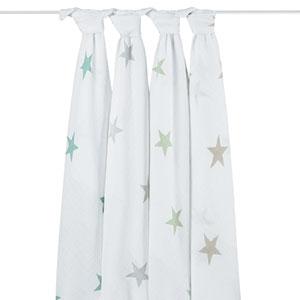 aden + anais Lot de 4 maxi-langes scout étoiles pastel
