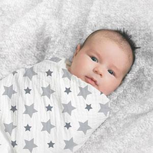 aden + anais Lot de 4 maxi-langes étoiles grises