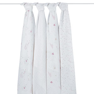 Lot de 4 maxi-langes éléphant rose