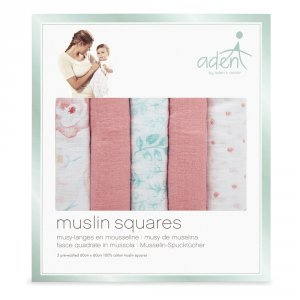 Aden by aden+anais Lot de 5 petits langes full bloom