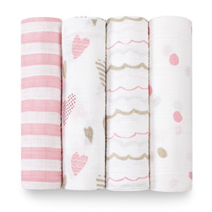 aden + anais Lot de 4 maxi-langes heart breaker