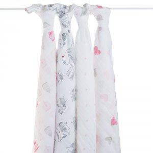 aden + anais Lot de 4 maxi-langes lovebrid