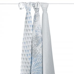 aden + anais Lot de 3 maxi-langes silky soft metallic blue moon birch