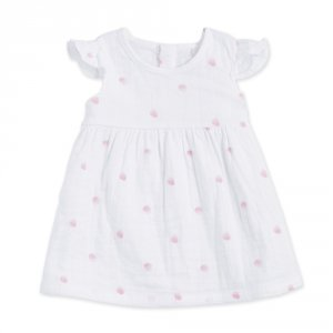 Robe chasuble à mancherons volantés rose water dot