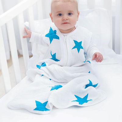 Gigoteuse été étoiles bleues fluo 0-6 mois Aden + anais