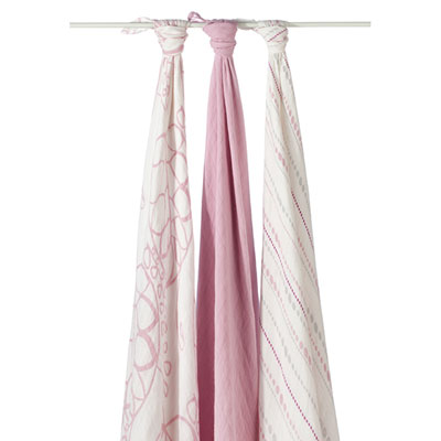 Lot de 3 maxi-langes rose poudré Aden + anais