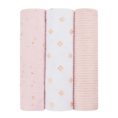 Lot de 3 maxi-langes metallic primrose gold Aden + anais