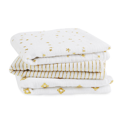Lot de 3 petits langes metallic gold Aden + anais