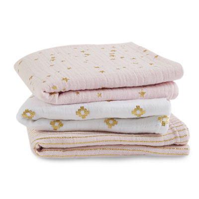 Lot de 3 petits langes metallic primrose gold Aden + anais