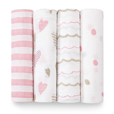 Lot de 4 maxi-langes heart breaker Aden + anais