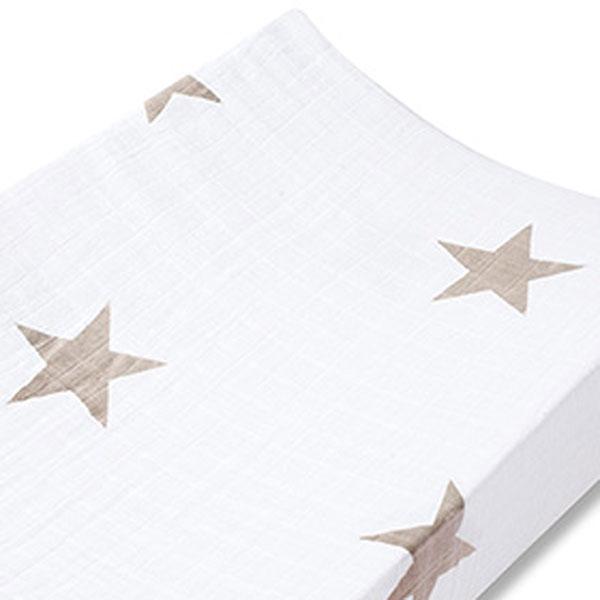 Housse de matelas à langer étoiles beiges Aden + anais
