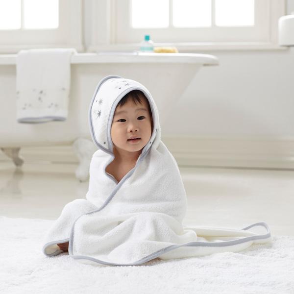 Sortie de bain bébé étoiles grises Aden + anais