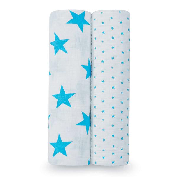Lot de 2 maxi-langes bleu fluo Aden + anais