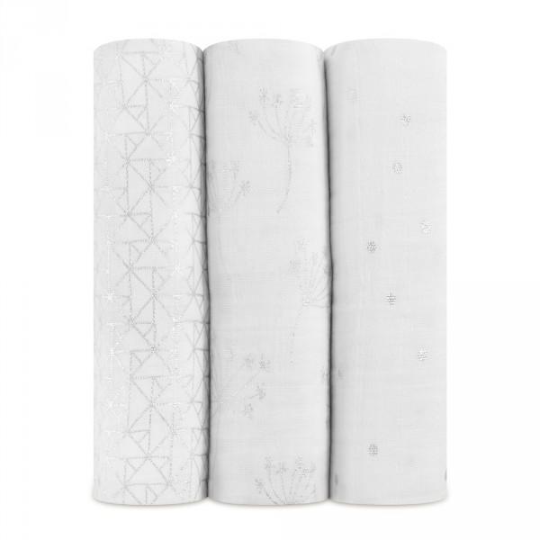 Lot de 3 maxi-langes metallic silver déco Aden + anais