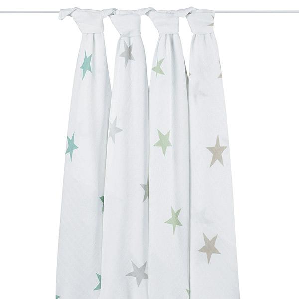 Lot de 4 maxi-langes scout étoiles pastel Aden + anais