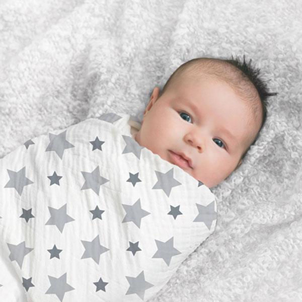 Lot de 4 maxi-langes étoiles grises Aden + anais