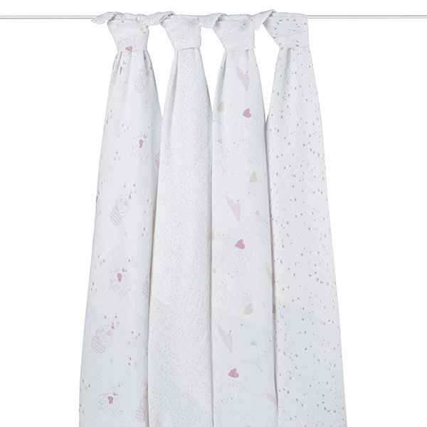 Lot de 4 maxi-langes éléphant rose Aden + anais
