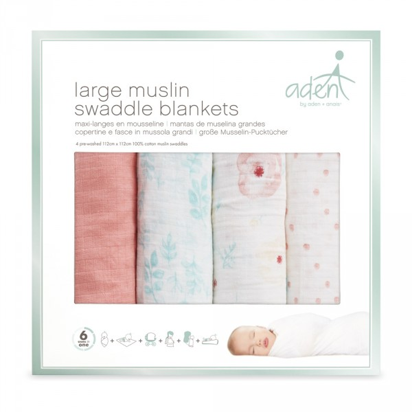 Lot de 4 maxi-langes full bloom Aden by aden+anais