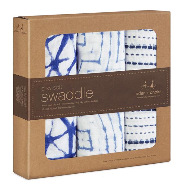 Lot de 3 maxi-langes silky soft indigo Aden + anais