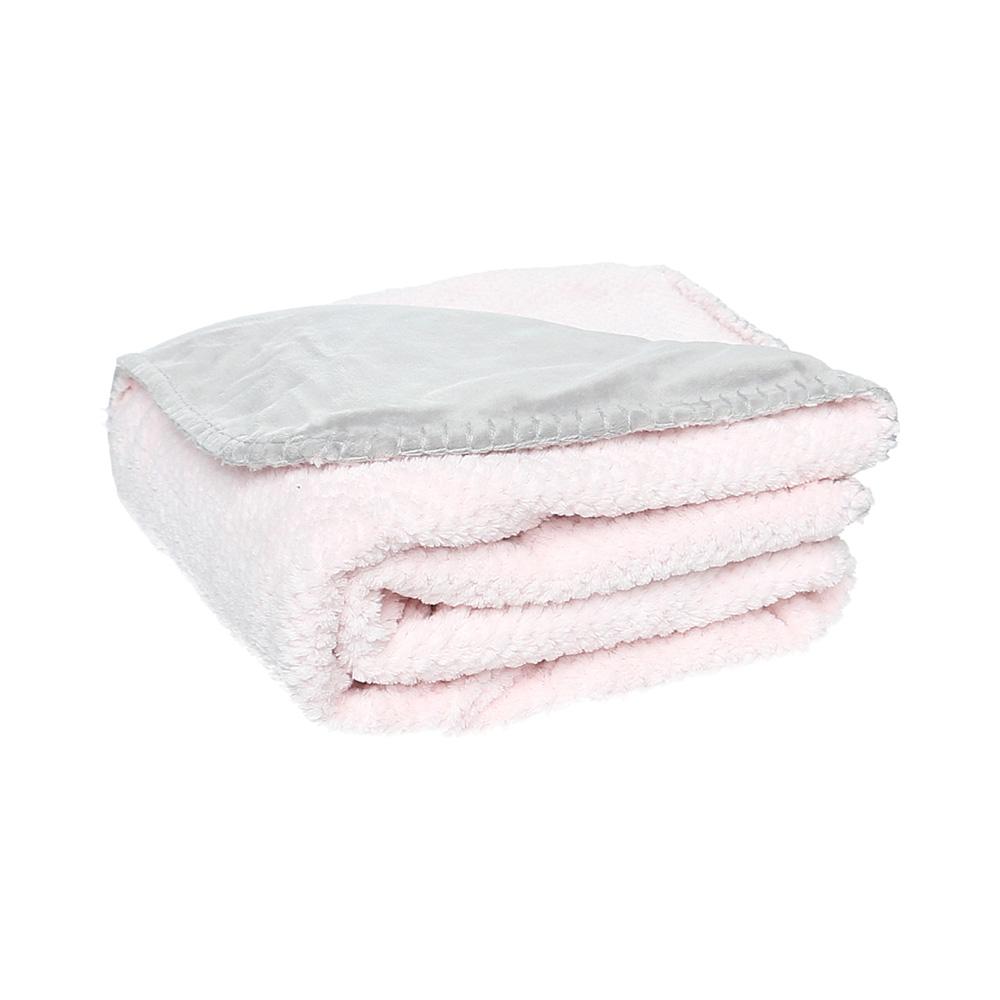 couverture groloudoux 100 x 140 cm rose cocon gris perle de noukies chez naturab b. Black Bedroom Furniture Sets. Home Design Ideas