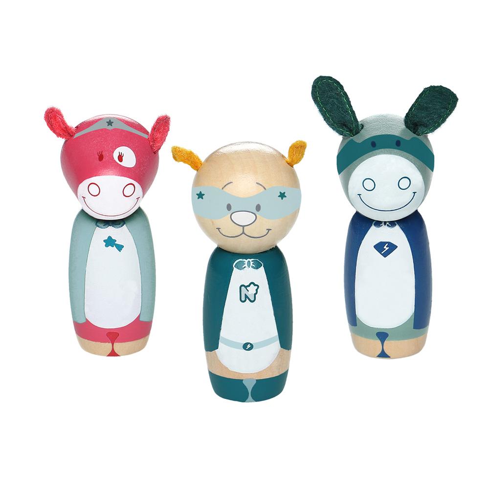 66475340c32b0 Jouet d éveil bébé set 3 personnages super-héros en bois de Noukies sur  allobébé