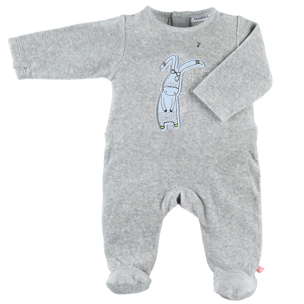 84fe6fddaf404 Pyjama dors bien velours smart boy gris clair de Noukies sur allobébé