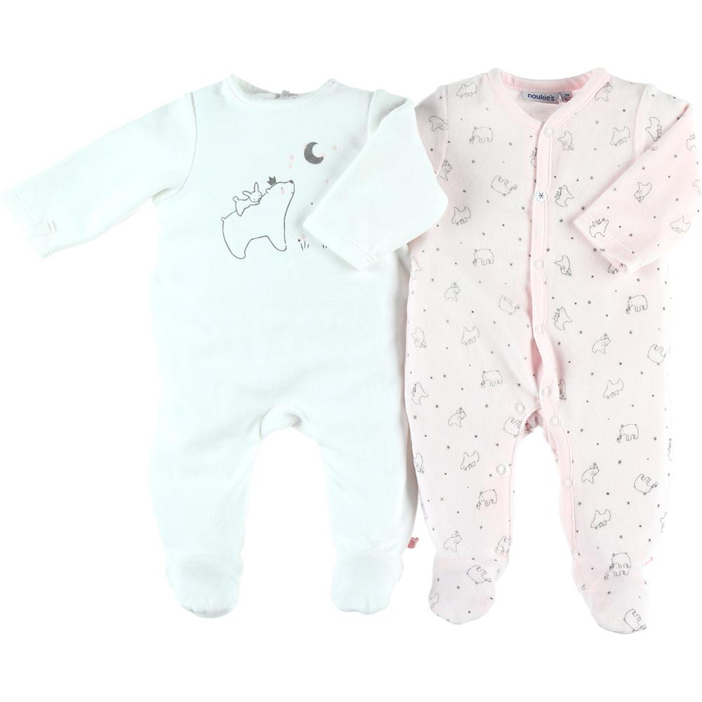 f79837c433dcc Lot de 2 pyjamas velours cocon rose et blanc de Noukies sur allobébé