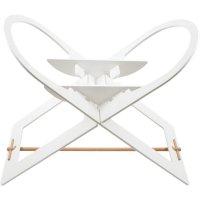 Support de couffin blanc avec barre de support en bois